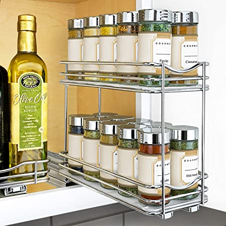 "Lynk Professional Slide Out Double Spice Rack Upper Cabinet Organizer, 4-1/4"", Chrome"