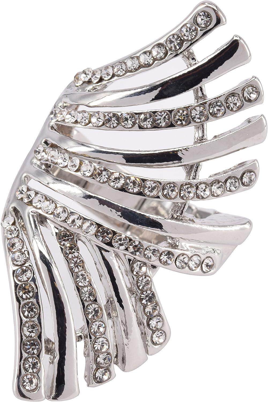 M/étal Argent Fashion Ring Bague Emaill/ée Forme Fleur Strass Bague Elastique Taille R/églable Ajustable Femme CRAZYCHIC Bijoux Fantaisie Tendance Mode