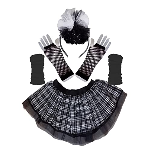 09de016f74 Honey B's Gothic Black White Tartan Tutu Skirt Legwarmers Gloves & Headband  Set