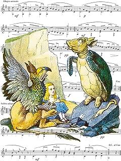 8x10 Fine Art Print, Alice in Wonderland - The Gryphon and Mock Turtle Giclee Print on Sheet Music Artwork 8x10