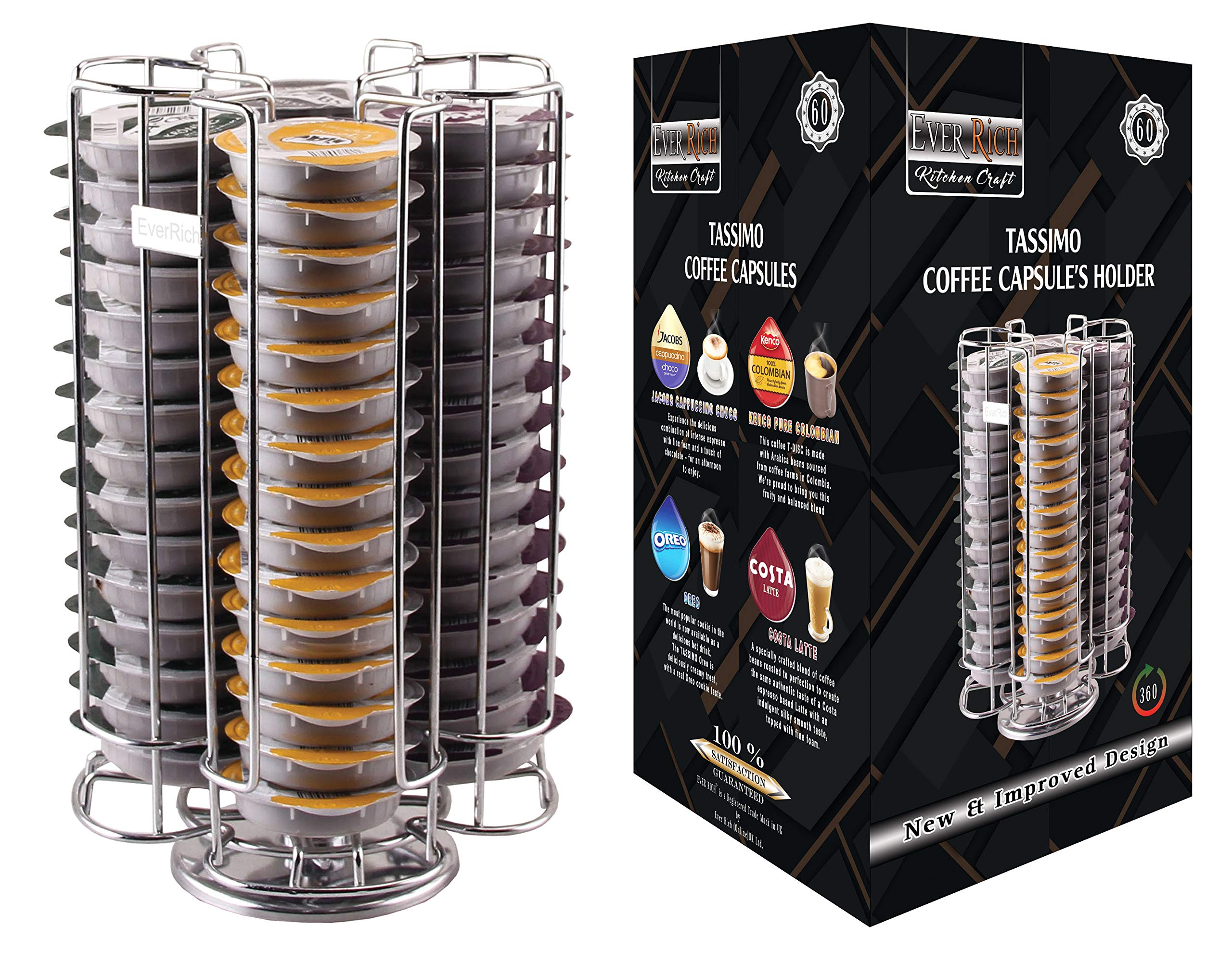 EVER RICH ® Soporte/Soporte para cápsulas de café para cápsulas Tassimo T-Disc - Tiendas Bosch Tassimo T-Discs Cápsulas de café (Chrome 60): Amazon.es: Hogar