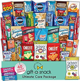 Snack Box Variety Pack (40 Count) Fathers Day Gift Basket Prime - Graduation 2021 College Student Care Package, Crave Food...
