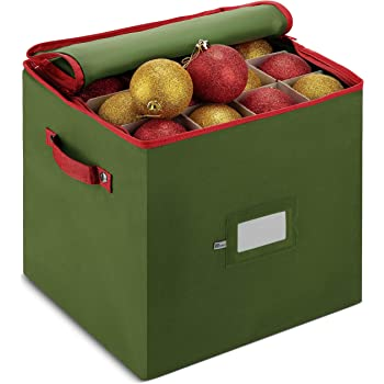 ZOBER Christmas Ornament Storage Box with Zippered Closure - Protect & Keeps Safe Up to 64 Holiday Ornaments & Xmas Decorations Accessories, Durable Non-Woven Ornament Storage Container, Two Handles