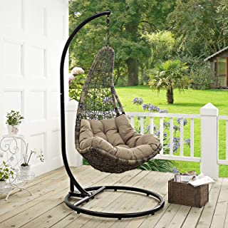 Modway Abate EEI-2276-BLK-MOC-SET Outdoor Patio Swing Chair, Black Mocha, Stand