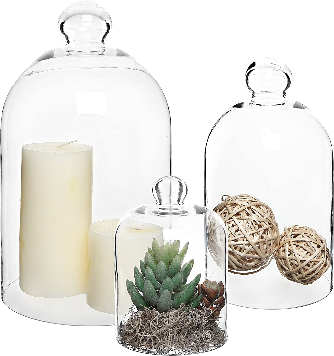 MyGift Set of 3 Decorative Clear Glass Apothecary Cloche Bell Jars Centerpiece Dome Display