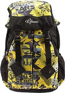 GLEAM Trendy Multicolour School Bag with Hood Pocket (Yellow & Black)