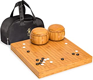 Yellow Mountain Imports Bamboo 2-Inch Reversible 19x19/13x13 Go Game Set Board with Double Convex Melamine Stones and Bamb...
