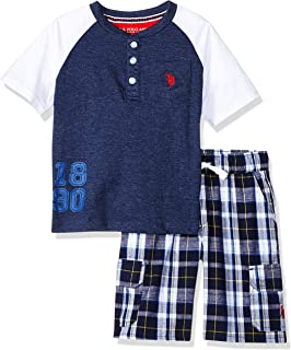 U.S. Polo Assn. Boys SV95 Short Sleeve Henley T-Shirt and Pull-on Short Shorts Set