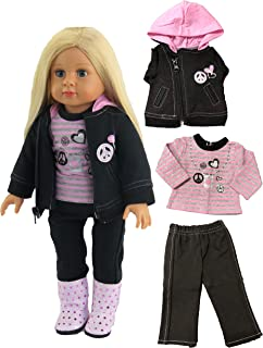 American Fashion World for 18-inch Dolls Peace Sign Pant Set | Fits 18