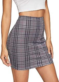 Women's Basic Stretch Plaid Mini Bodycon Pencil Skirt