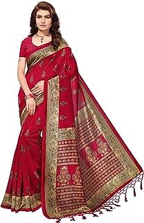 Oomph! Women's Art Silk Printed Kalamkari Sarees with Tassles - Maroon Red