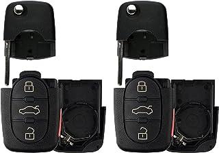 KeylessOption Keyless Entry Remote Key Fob Shell Case Button Pad Flip Key Cover For VW Audi (Pack of 2)