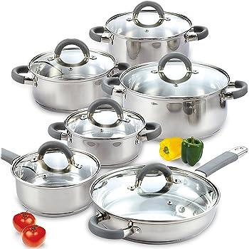 Cook N Home - Batería de cocina (acero inoxidable), color plateado, Silcone handle, Plateado, 12 piezas, 1