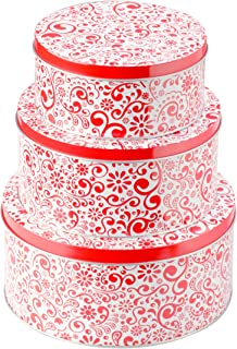 StarPack Premium Christmas Cookie Tins Set of 3 - Decorative Cookie Gift Tins, Extra Thick Steel - Large, Medium and Small Sizes