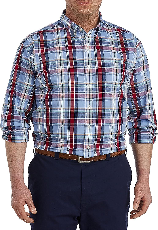 Oak Hill by DXL Big and Tall Large Plaid Sport Shirt, Blue