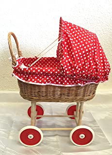 Puppenwagen Kinderwagen Weide 45x45x47 cm Rot Karo Weidenkorb Korbwagen Stubenwagen Weidenpuppenwage - Herz Heart