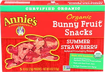 Annie's Homegrown, Bunny Fruit Snacks Summer Strawberry Organic, 0.8 Ounce, 5 Pack