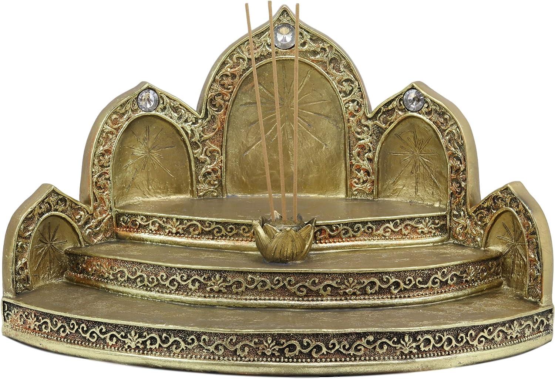 Ebros Gift Golden Tibetan Buddhism Altar Shrine Steps Miniature Display Stand with Lotus Padma Incense Sticks Holder 13