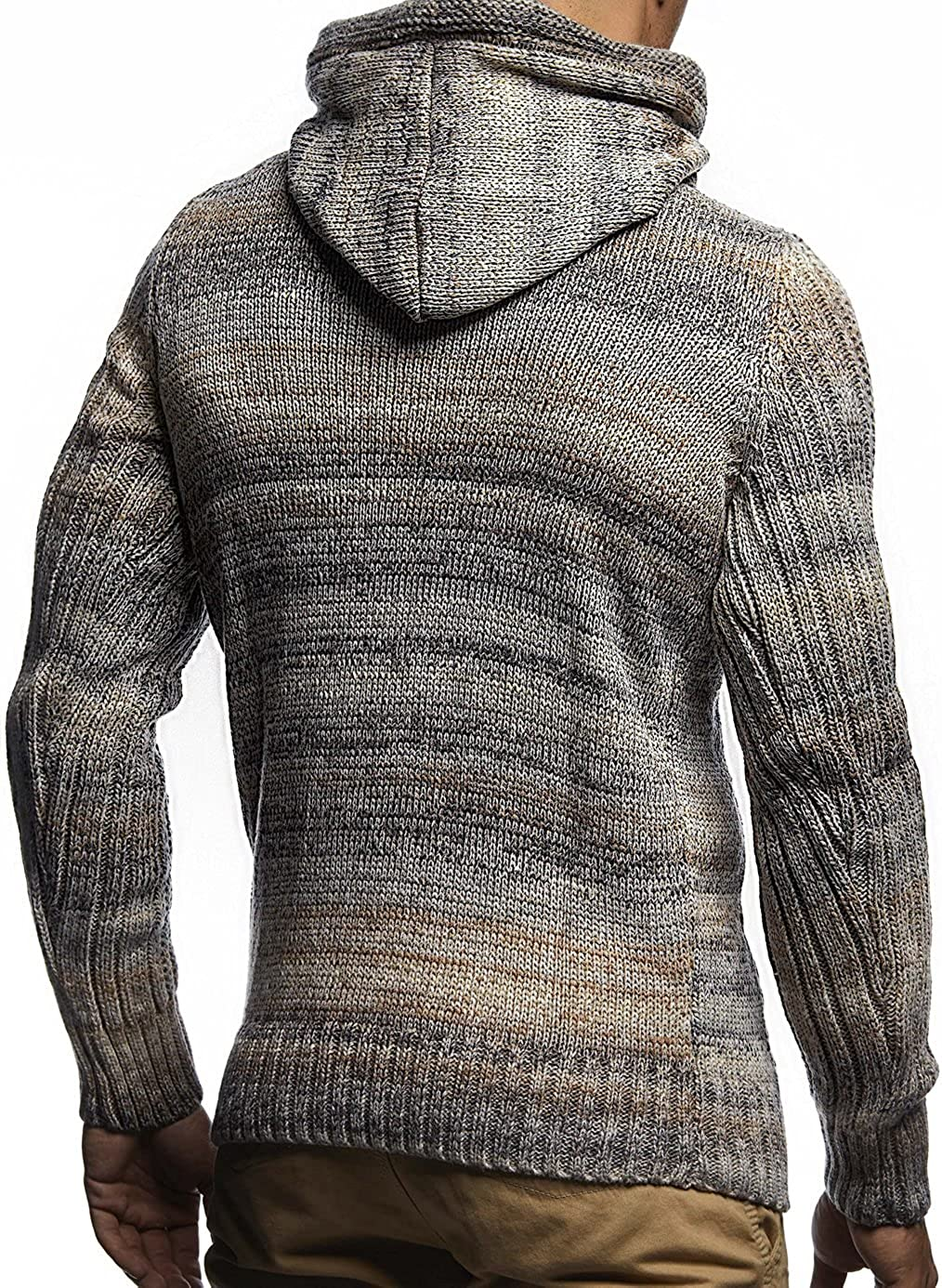 Leif Nelson Men's Knitted Pullover   Long-sleeved slim fit hoodie   Basic winter hoodie-sweater for Men