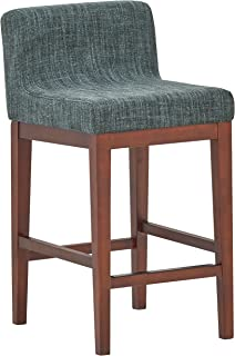 Rivet Mid-Century Modern Low-Back Kitchen Counter Bar Stool, 33.5 Inch Height, Marine Blue, Wood