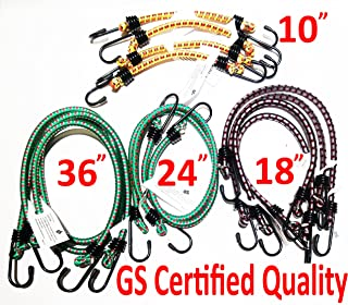 """German GS Certification Diameter 8mm Bungee Cord 12 Pieces in Jar Including 10"""" 4pcs, 18"""" 4pcs, 24"""" 2pcs, 36"""" 2pcs"""