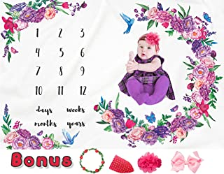 Baby Monthly Milestone Blanket Girl - Large Size, Thick Flannel Fleece, Extra Soft, Wrinkle Free - New Mom, Newborns Personalized Photography - Bonus Headband & Floral Wreath & Bib