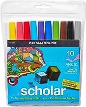 Prismacolor 1774268 Scholar Art Markers, Brush Tip, Assorted, 10-Count