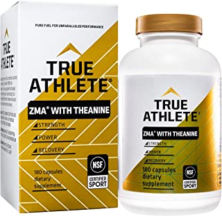 True Athlete ZMA with Theanine Combination of Zinc Magnesium to Help Increase Muscle Strength Power, NSF Certified for Spo...