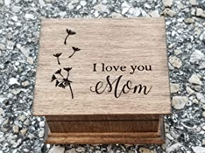 Mother's day gift, Mom music box, Custom made music box with I love you Mom and dandelion image engraved on top, with your choice of color and song