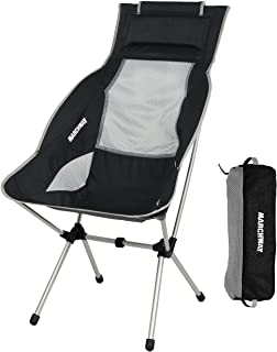 MARCHWAY Lightweight Folding High Back Camping Chair Headrest, Portable Compact Outdoor Camp, Travel, Picnic, Festival, Hi...
