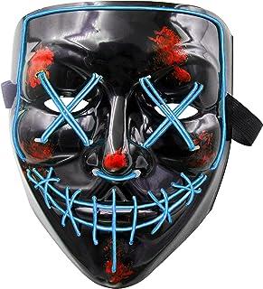 LED Maske Purge Maske mit 3 Blitzmodi für Halloween Fasching Karneval Party Kostüm Cosplay Dekoration Halloween Gruselige Maske(Blau)