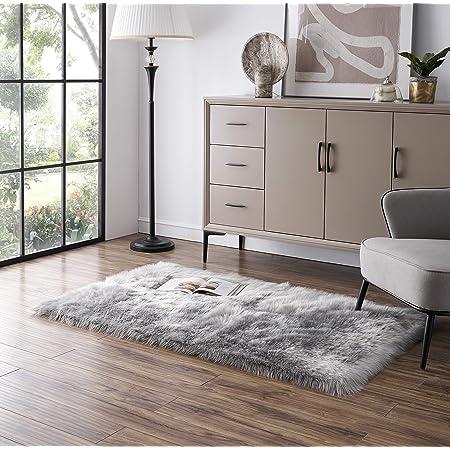 Tangsoo Soft Fluffy Area Rug Grey Faux Fur Rug Shaggy Fur Rugs for Bedroom Furry Carpet for Kids Room Fuzzy Floor Rugs Plush Fur Rug for Living Room, 2x4 Feet (Rectangle Shape,Grey)