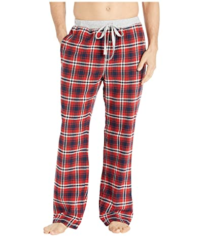 True Grit Melange Crossroads Checks Flannel Pajama Pants with Heather Knit Trim (Red/Navy) Men
