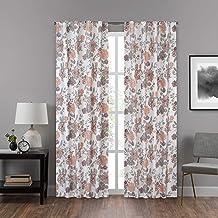 "ECLIPSE Draftstopper Summit Botanical Rod Pocket Single Panel Privacy Window Treatment Living Room, 40"" x 95"", Blush"