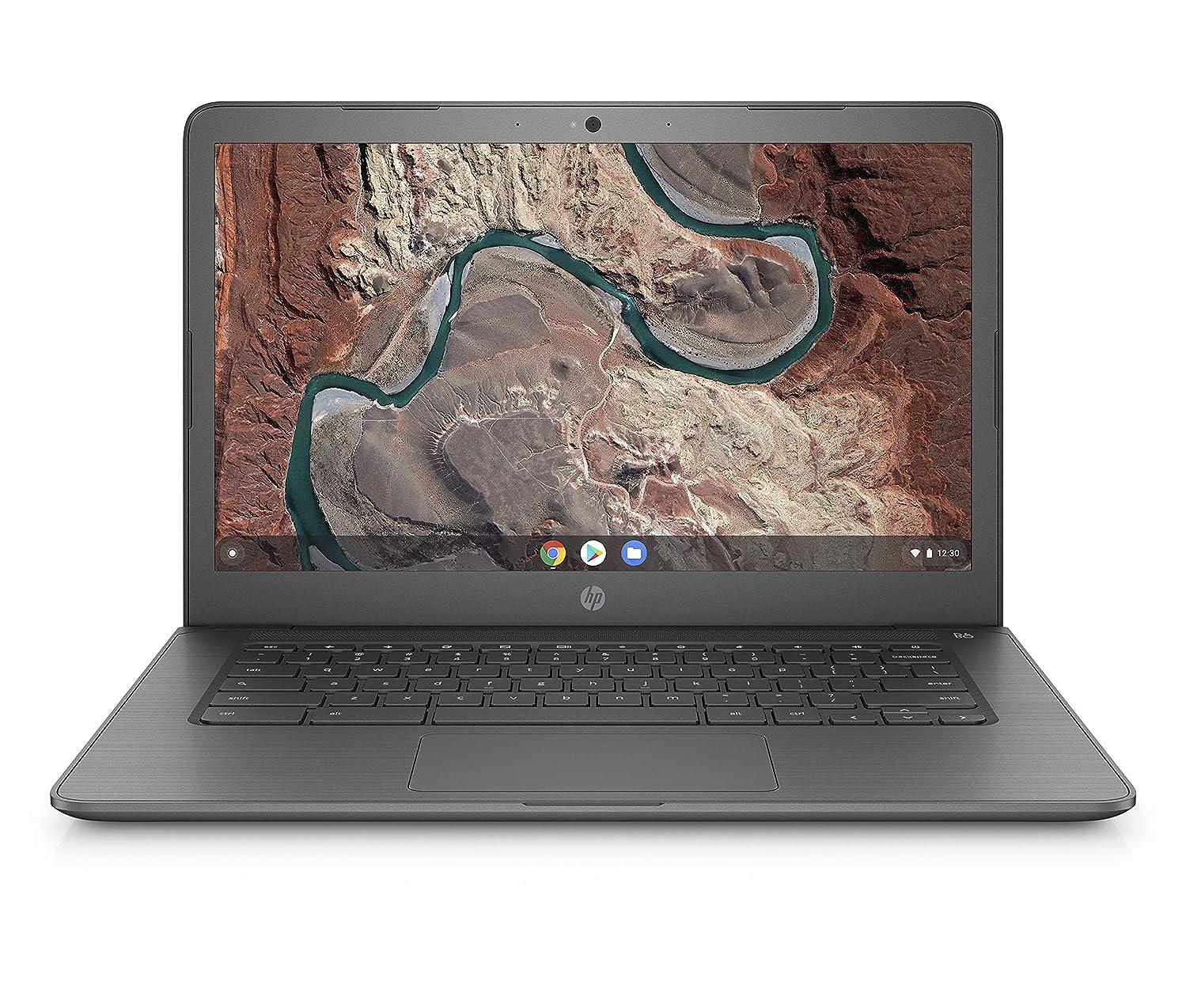 HP Chromebook 14-inch Laptop with 180-degree Hinge, Full HD Screen, AMD Dual-Core A4-9120 Processor, 4 GB SDRAM, 32 GB eMMC Storage, Chrome OS (14-db0040nr, Chalkboard Gray)