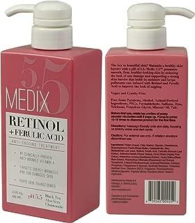 Medix 5.5 Retinol Cream with Ferulic Acid Anti-Sagging Treatment. Targets Crepey Wrinkles and Sun Damaged Skin. Anti-Aging Cream Infused With Black Tea, Aloe Vera, And Chamomile (Two - 15oz)