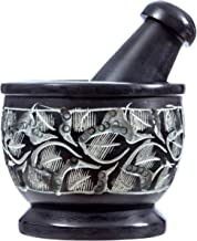 Soapstone Mortar and Pestle with Carved Floral Design (Black)