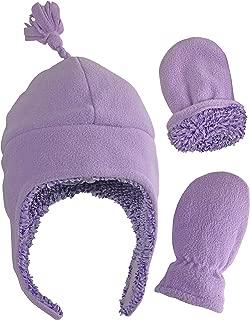Little Girls and Baby Sherpa Lined Warm Fleece Pilot Hat Mitten Set