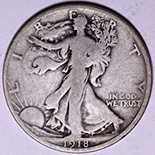 1918 D Walking Liberty 90% Silver Half Dollar VG and Better Full Rim and Full Date US Mint