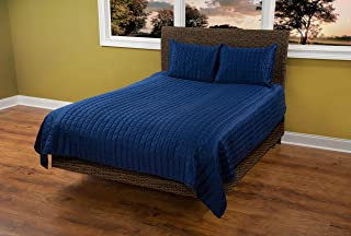 Rizzy Home Concrete 3-Piece Quilted Bed Set, Navy Blue, Queen