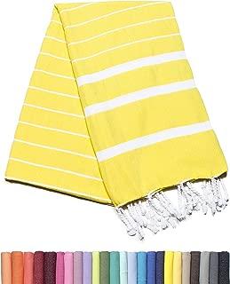 Barcelonetta | Turkish Towel | 40x70in | Beach & Bath Peshtemal | Natural, Eco-Friendly, 100% Cotton, Super Soft, Quick-Dry | Washing Machine, Dryer and Iron Safe | Made in Turkey (Pineapple Yellow)
