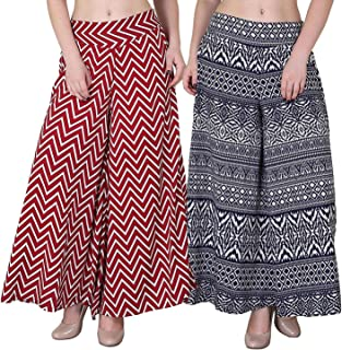 FABLAB Women's Multicolor Palazzo Pants with Inner Pack of 2(FLPLCRP-P-2-24,Zigzag-BlueP)