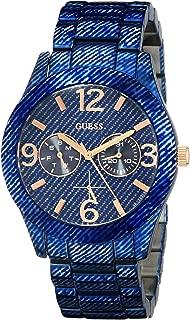 GUESS Women's U0288L1 Dazzling Blue Denim Hi-Shine Sport Watch