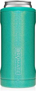 BrüMate Hopsulator Slim Double-walled Stainless Steel Insulated Can Cooler for 12 Oz Slim Cans (Glitter Peacock)