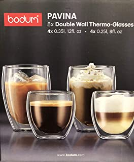 Bodum Pavina Double Wall Thermo Glasses Set of 8 (4 x 12 Ounce and 4 x 8 Ounce)