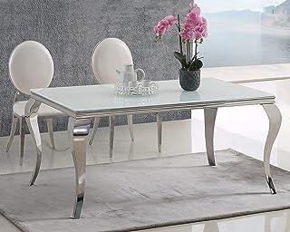 Table de salle à manger design moderne en acier inoxydable et verre opale blanc dépoli 180 x 90 cm