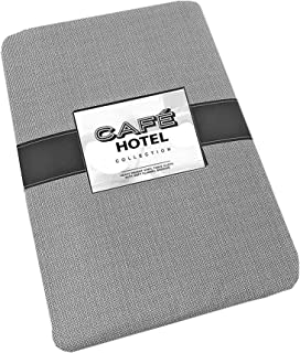 Cafe Hotel Linen Look Solid Color Heavy 4 Gauge Vinyl Flannel Backed Tablecloth, Indoor/Outdoor Wipe Clean Tablecloth, 60 Inch x 84 Inch Oval, Grey