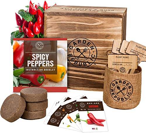 Indoor Garden Pepper Seed Starter Kit - 4 Non GMO Hot Peppers Seeds for Planting, Pots, Planter Box, Scissor, Plant M...
