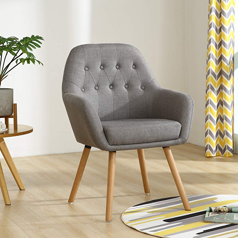 LSSBOUGHT Contemporary Stylish Button Tufted Upholstered Accent Chair With Solid Wood Legs Gray