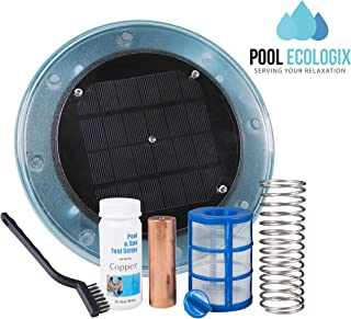 Pool Ecologix Solar Pool Ionizer | Floating Cleaner and Purifier with Copper Anode | Keeps Water Crystal Clear and Free of Algae | Chlorine Free and Eco-Friendly | Fresh and Salt Water Compatible